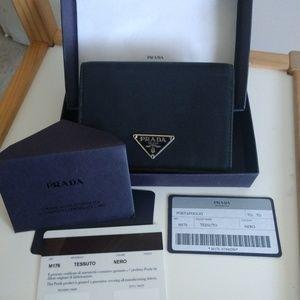 Authentic PRADA tri fold Nylon Wallet M176